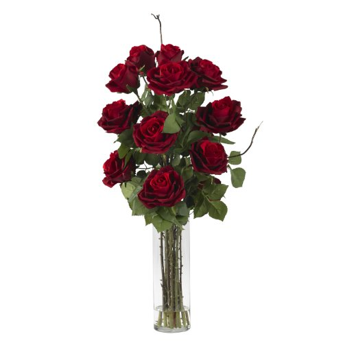 (Nearly Natural 1206 Roses with Cylinder Vase Silk Flower Arrangement, Red)