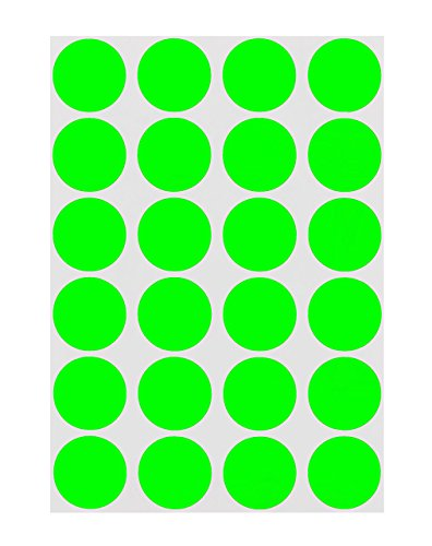 ChromaLabel 3/4 inch Color-Code Dot Labels on Sheets   1,008/Pack (Fluorescent Green)