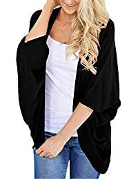 Lightweight Summer Cardigans for Women Solid Color Cotton Kimono Cover Ups Tops 3/4 Sleeve