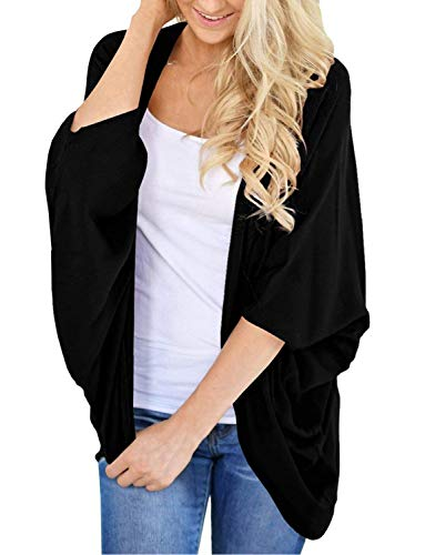 Lightweight Summer Cardigan for Women 3/4 Sleeve Solid Kimono Cover Up(Black, XL)