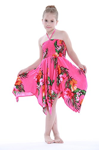 Girl Gypsy Uneven Button Hawaiian Luau Dress in Hot Pink Floral (Hot Gypsy Girls)