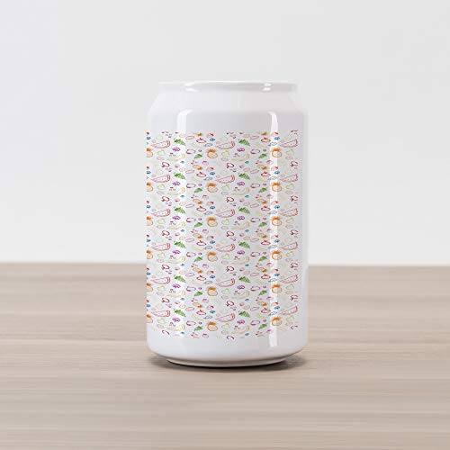 Ambesonne Fruit Cola Can Shape Piggy Bank, Sketch Vegetarian Berries and Food Grapes Lemon Pear Pineapple Cherry and Strawberry, Ceramic Cola Shaped Coin Box Money Bank for Cash Saving, Multicolor