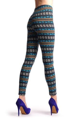 Blue, Yellow & Black Aztec Jacquard Knit Print - Multicolore Opaque Leggings (Collants Sans Pied) Taille Unique (32-38)