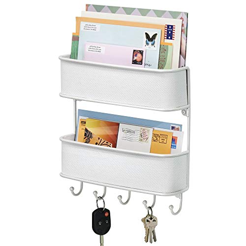 mDesign Wall Mount Metal Woven Mail Organizer Storage Basket - 2 Tiers, 6 Hooks - for Entryway, Mudroom, Hallway, Kitchen, Office - Holds Letters, Magazines, Coats, Leashes, Keys - White (Baskets Wall That The On Hang)