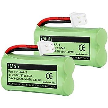 2-Pack iMah Ryme B1 BT183342 BT283342 BT166342 BT266342 BT162342 BT262342 Battery for VTech CS6114 CS6419 CS6719 AT&T EL52300 CL80111 Cordless Phone