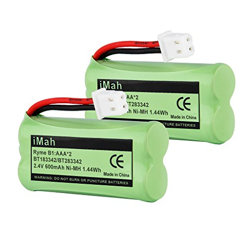 2-Pack iMah Ryme B1 BT183342 BT283342 BT166342 BT266342 BT162342 BT262342 Battery for VTech CS6114 CS6419 CS6719 AT&T EL52300 CL80111 Cordless Phone (Battery Bt283342 Phone Cordless)