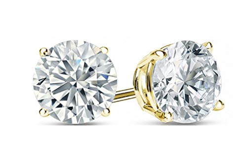 (1.0 ct Brilliant Round Cut Solitaire Highest Quality Moissanite Anniversary gift Stud Earrings Real Solid 14k Yellow Gold Push Back)