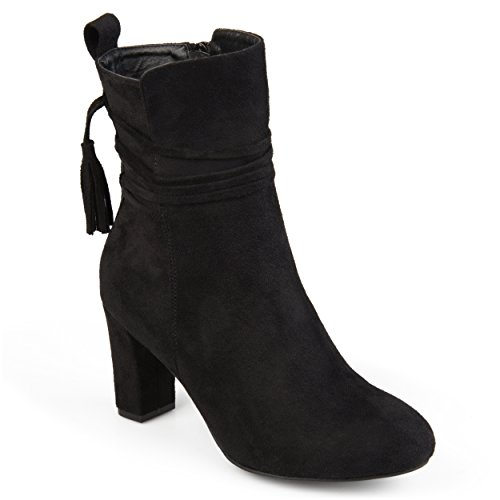 Faux Suede Wrap (Journee Collection Womens Tasseled Faux Suede Wrap Strap Booties Black, 8 Regular US)