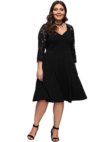 FeelinGirl Women's V-Neck Stitching Lace Plus Size Dress Black