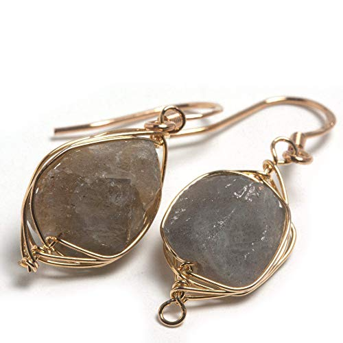 Natural Stone Wire Wrap Dangle Drop Earrings Gold Plated 925 Sterling Silver Hook/Rough Labradorite ()