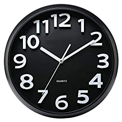 Bernhard Products Large Black Wall Clock, Silent Non Ticking - 13 Inch Quality Quartz Battery Operated Round Easy to Read Home/Living Room/Office/School Clock