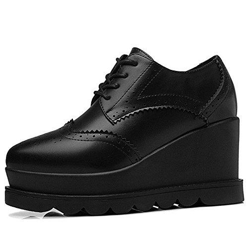 U-mac Mujeres Ticker Bottom Sneakers Plataforma Round Toe Chic Cómodo Zapatos Para Caminar Negro