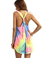 Romwe Women's Sleeveless V Neck Tie Dye Tunic Tops Casual Swing Tee Shirt Dress