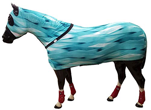 Turquoise Slinky - Chicks Saddlery Full Body Slinky with Full Zipper Hood and Belly Wrap