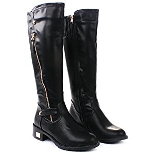 JJF Shoes Kaylin Black Leatherette Zip Knee High Faux Fur Lined Motorcycle Boot-8.5