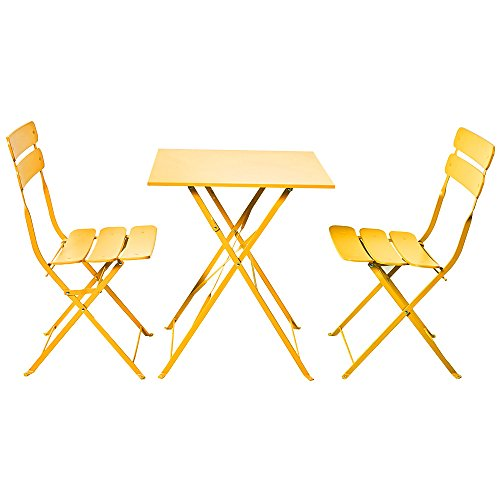 Grand patio Bistro Sets, Folding Outdoor Furniture Set for Bistro Patio Backyard, Yellow by Grand patio