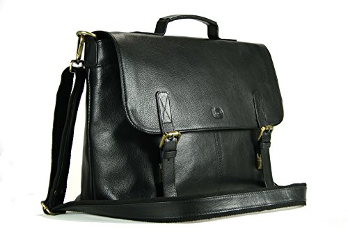 Leather Laptop Briefcase/Messenger Bag/Mens Satchel in Black Top Grain Cow Leather by LeftOver Studio
