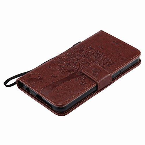 Yiizy Huawei Honor 8 Custodia Cover, Alberi Disegno Design Sottile Flip Portafoglio PU Pelle Cuoio Copertura Shell Case Slot Schede Cavalletto Stile Libro Bumper Protettivo Borsa (Caffè)