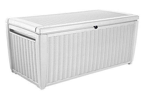 - Keter Sumatra 135 gallon Outdoor Storage Rattan Deck Box, White