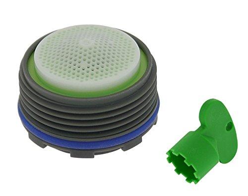 Neoperl Ultra Low Flow PCA Cache Spray Aerator, Tiny Jr/TJ Size, 0.5 GPM, Lime Green/White Dome, Spray Stream, M18.5 x 1 Threads, Bundle With Key (2 Items)