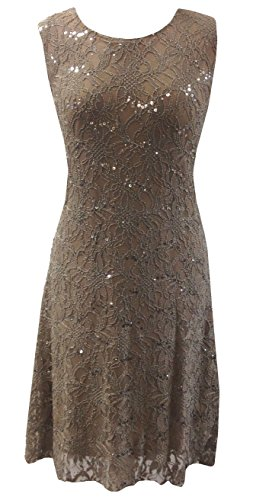 [Taupe - Sequined Lace Evening Cocktail Dress in Size 20] (Burlesque Fancy Dress Plus Size)