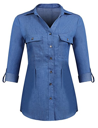 Pinspark Women Vintage Button Down Shirt Long Sleeve Chambray Denim Jean Tops (Blue, X-Large)