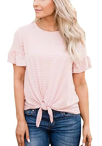 Poulax Women Casual Ruffle Short Sleeve Striped Knot Tie Front Loose Tee T Shirt Tops,New Pink,L