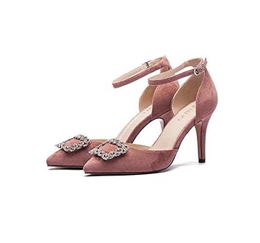 Moda Superficiale Tacco Rosa Retrò Di Bocca Sandali Estate Sognare Elegante 37 Taglia Tacchi Alti Stiletto Comodi colore Punte Femminili XEwIqn1