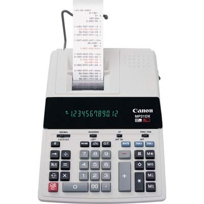 Canon CNMMP21DX Color Printing Calculator, AC Supply Powered, 3.7'' x 9'' x 12.2'', White, 1 Each by Canon
