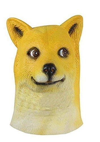 MRK Halloween Funny Doge Dog Head Mask Animal Latex (Funny Customes)