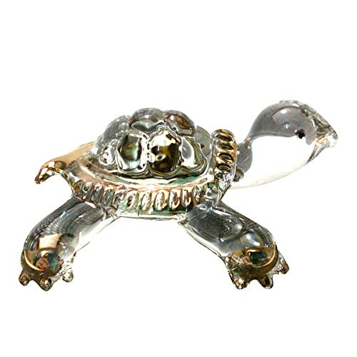 Sansukjai Turtle Miniature Figurines Animals Blown Glass Art W/ 22k Gold Trim Collectible Gift Decorate, Clear