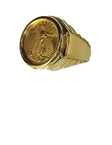 22K Fine Gold 1/10 Oz Lady Liberty Coin In Heavy 14K Yellow Gold Mens Ring 1375(Random Year Coin) ()