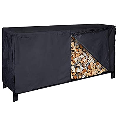 VIVOHOME 4/8 ft Heavy Duty Waterproof Log Rack Cover, Outdoor Firewood Storage Cover with Zipper and Hook Loop Tape