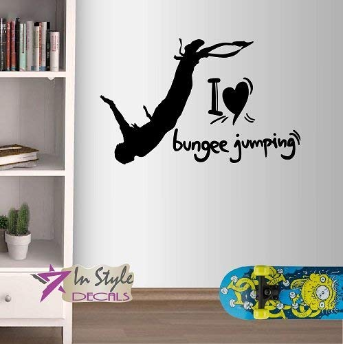 Bro Decals Vinyl Wall Decals Home Decor Stickers Art I Love Bungee Jumping Phrase Quote Sign Bungee Jumping Man Extreme Sport Sportsman Jumper Room Removable BR1539