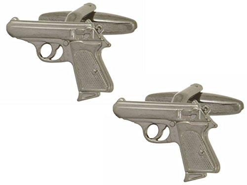 Silver Walther PPK Gun Cufflinks by Zennor