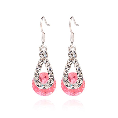 (Ikevan 1Pair Big Crystal Pendant Fashion Long Paragraph Brilliant Drop Earrings (Pink))