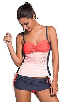 Huusa Womens Sexy Bandeau Top Tankini Skort Set 2 Pieces Swimsuit Swimwear