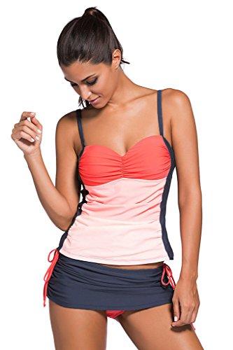 Huusa Womens Sexy Bandeau Tankini Skort Set Swimsuit Swimwear XL Orange+Grey