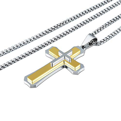 CAT EYE JEWELS Stainless Steel Cross Pendant Necklace Gold Layer on High-Polish Silver Cross - Cross High Polish Necklace