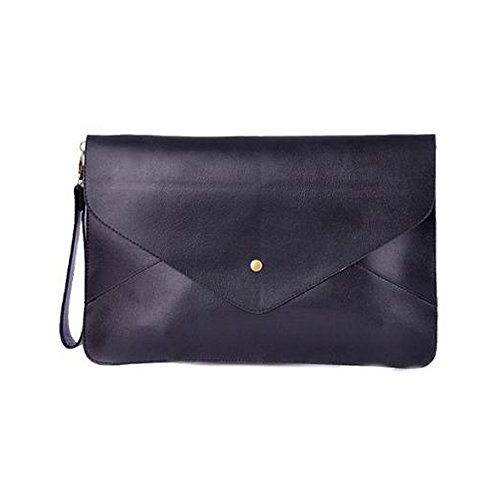 NATAMO Women Envelope Style Waterproof PU Leather Tablets Sleeve Case Briefcase Messenger Bag w/ Wrist Band & Shoulder Strap for Laptop/Notebook/Netbook/Ultrabook, Black