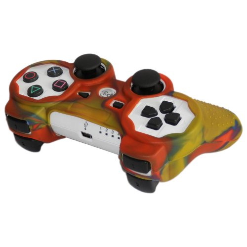 Skque-Silicone-Soft-Case-Cover-for-Sony-PlayStation-3-Controller-Yellow-Green-Orange