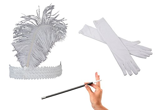 Kid Fun Jazz Era 1920's Costume White Ostrich Feather Head Band, Long Gloves & Cigarette Holder Bundle -