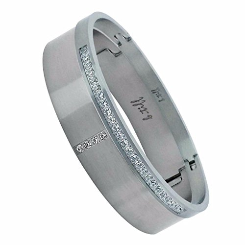 B.Tiff BTiff Brighter than Diamond Anodized Titanium 2 Pave Bangle Bracelets Double Stack Black, Silver, Gold, Small, Medium, Large (Silver, Size Medium)