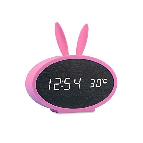 - Huatop Wooden LED Alarm Clock, Sound Control Digital Desk Clock Display Time, Date, Temperature, with Rabbit Soft Silicon Cover for Children,Teens (Black/Pink)