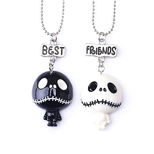 2 BFF Necklace Best Friends Necklace Set Halloween Skull Necklace Boys Girls Kids Friendship Necklace ¡