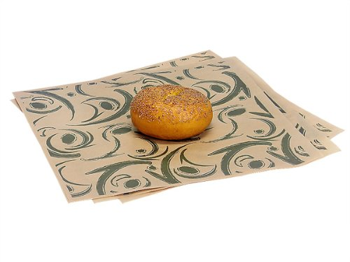 12x12'' Green Swirl Food Grade 20# Grease Resistant Kraft Tissue Sheet - WRAPS-1266GS by Miller Supply Inc