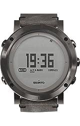 SUUNTO SS021216000 Unisex Essential Steel Digital Display Outdoor Watch, Black Leather Band, Round 49.1mm Case