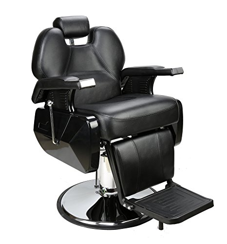 BarberPub All Purpose Hydraulic Recline Barber Chair Salon Beauty Spa Styling Equipment Black 6154-S8702BK ()