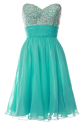 Ball Formal MACloth Dress Gown Turquoise Strapless Cocktail Chiffon Prom Short Women Party zzBxwF