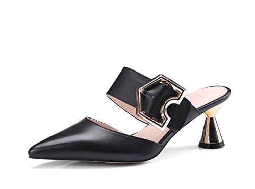 DANDANJIE Zapatos de tacón Alto para Mujer Hebilla de Metal Sandalias de Hebilla con Punta de los Ojos Chanclas Rhinestone Zapatillas de Exterior Verano Zapatos caseros Negro